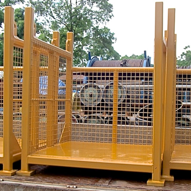 Metal fabrication Singapore - Custom steel cage painted yellow